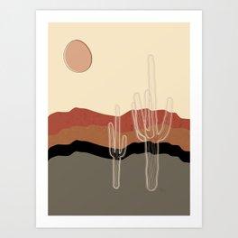 Saguaro Cactus in the Green Desert Art Print