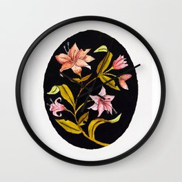 Lily Bouquet Watercolor — Lillies Watercolor Painting — Lily Flower Design Wall Clock