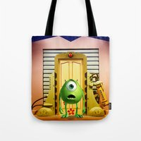 monster inc Tote Bags featuring  Monster Inc Mike Wazowski by Thorin