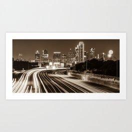 Dallas Highway Skyline Panoramic - Sepia Art Print