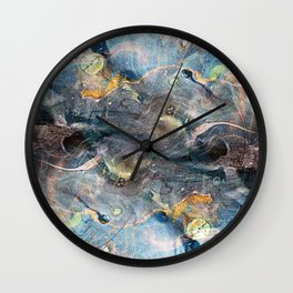 whimsical abstract paint image Wall Clock