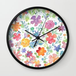 Colorful Whimsical Watercolor Flowers Pattern Wall Clock