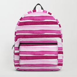 Pink Watercolour Seaside Stripes Backpack