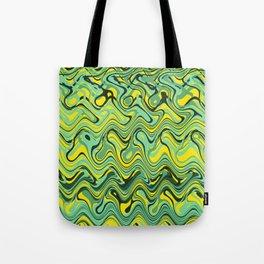 Abstract Wave yellow green Tote Bag