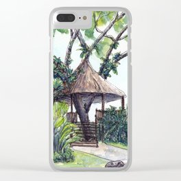 Tropical tree house Clear iPhone Case