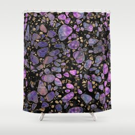 Terrazzo - Labradorite and gold on marble #1 Shower Curtain