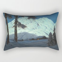 Winter Cabin in the Mountains landscape painting by Ivan Fedorovich Choultsé Rectangular Pillow