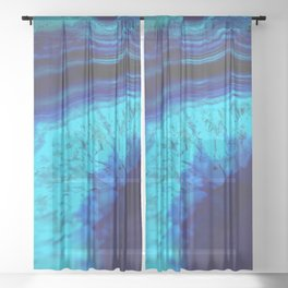 Royal Blue Turquoise Agate Sheer Curtain