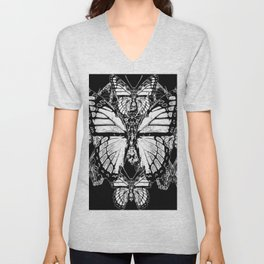 BLACK & WHITE MONARCH BUTTERFLIES ABSTRACT Unisex V-Neck