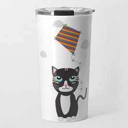 Cat with Kite Travel Mug