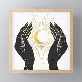 Gold La Lune In Hands Framed Mini Art Print