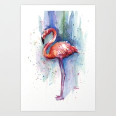 Pink Flamingo Watercolor Tropical Animals Birds Art Print