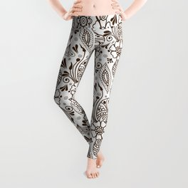 Mehndi or Henna (Brown and White) Leggings