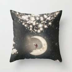 The Big Journey of the Man on the Moon  Throw Pillow