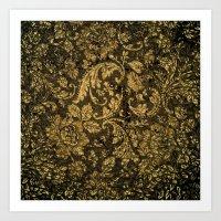 damask Art Prints featuring Decorative damask by nicky2342