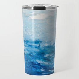 Paint 10 abstract water ocean seascape modern painting dorm room decor affordable stretched canvas Travel Mug