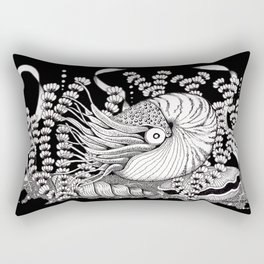 Zentangle Nautilus Black Ocean Rectangular Pillow