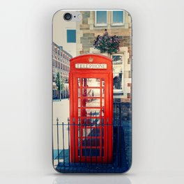Red phone booth iPhone Skin