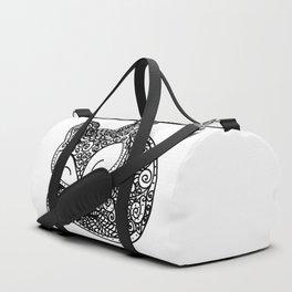 Black and White Mandala Fox Design Illustration Duffle Bag