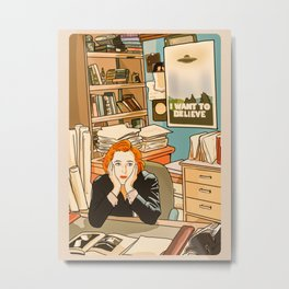 Dana Scully sit to the Fox Mulder's office Metal Print