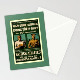 British rugby, football players call for duty Stationery Cards