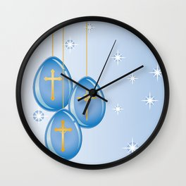 Shiny blue hanging eggs decorated with gold crosses Wall Clock