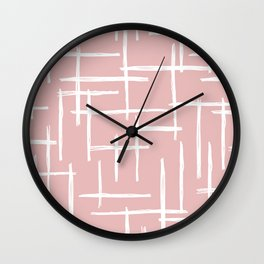Soft pink abstract strokes grid modern minimal style pattern design Wall Clock