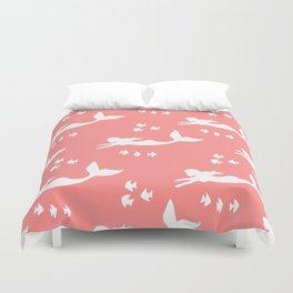 Mermaid Pattern Coral Pink Duvet Cover