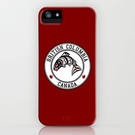 Native American Red Black Graphic Vector Salmon iPhone Case