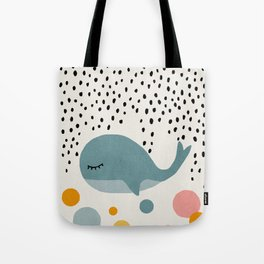 Whale, Abstract, Mid century modern kids wall art, Nursery room Tote Bag