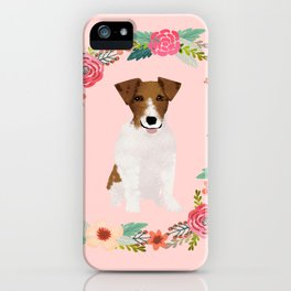 jack russell terrier floral wreath dog breed pet portrait pure breed dog lovers iPhone Case