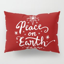 Peace On Earth - White on Red Pillow Sham