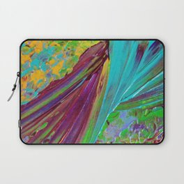 COLOR CHAOS Wild Vibrant Colorful Abstract Acrylic Painting Lime Green Plum Purple Gift Art Decor Laptop Sleeve