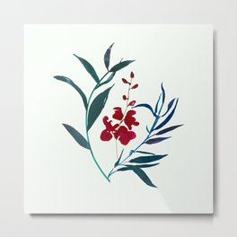 Red burgundy orchid and ocean navy blue foliage Metal Print