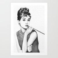 audrey Art Prints featuring Audrey by Olechka