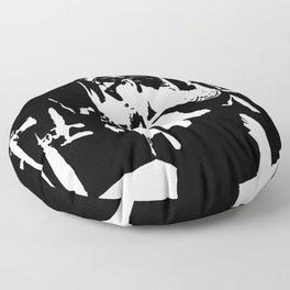 Audrey Hepburn in movie Breakfast at Tiffany's. Black and white portrait, monochrome stencil art Floor Pillow