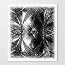 Abstract.White+Black Peacock. Canvas Print