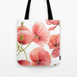 Red Poppies Bright Sunlight, Big Beautiful Red Flowers Tote Bag