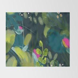 abstract jungle fever leaves in floral green Throw Blanket