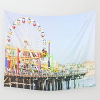 santa monica Wall Tapestries featuring Santa Monica Pier by SoCal Chic Photography