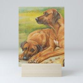 Rhodesian Ridgeback Dog portrait painting Safari style decor Mini Art Print