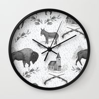 political Wall Clocks featuring Political Toile by Jessica Roux