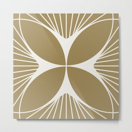 Diamond Series Floral Cross White on Gold Metal Print