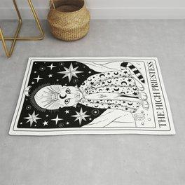 The High Priestess Tarot Card As a Cat Black and White Rug