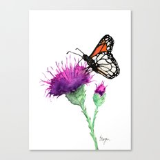 Monarch and Milk Thistle Canvas Print