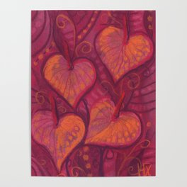Hearty Flowers / Anthurium, pink, red & orange Poster