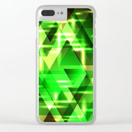 Spring gentle green horizontal strict stripes of sparkling grass triangles. Clear iPhone Case