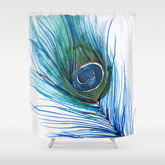 Peacock Feather I Shower Curtain