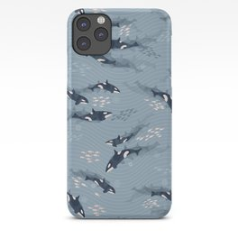Orca in Motion / blue-gray ocean pattern iPhone Case