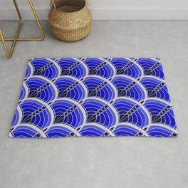 Silver Foil Art Deco Slanted Wave Deep Blue Linen Rug